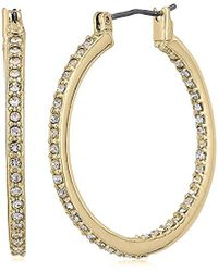 "Kenneth Cole - ""shiny Gold Items"" Gold And Crystal Small Hoop Earrings - Lyst"