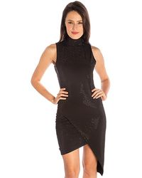 Sheri Bodell Studded High Neck Dress In Black