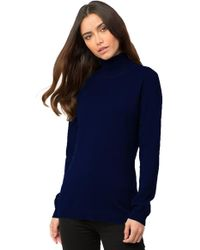 525 America - Turtleneck With Rib Inset Sweater In Navy - Lyst
