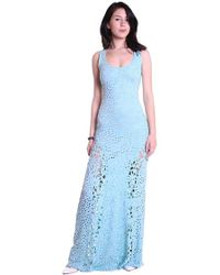 Sky Clothing Collection - Sky Wilmotte Eyelet & Lace Maxi Dress In Mist - Lyst