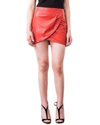 Karina Grimaldi   Tulip Leather Mini Skirt In Red   Lyst