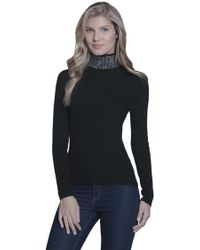 Metric Knits - Studded Turtleneck Sweater In Black - Lyst