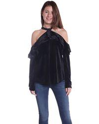 Dora Landa - Morgan Ruffle Cold Shoulder Top In Black - Lyst