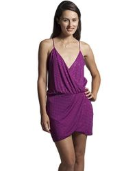 Sheri Bodell - Crystal Front Wrap Dress In Fuchsia - Lyst