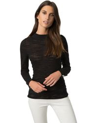 525 America - Pearl Button Burnout Knit Top In Black - Lyst