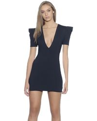 Susana Monaco - Pleated Sleeve Deep V Mini Dress In Black - Lyst