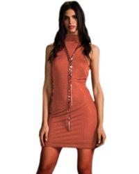 Sheri Bodell - High Neck Crystal Mini Dress In Rust - Lyst