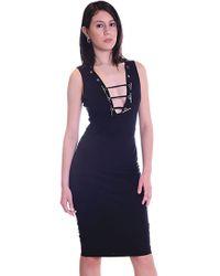 Sheri Bodell | V Neck Toggle Dress In Black | Lyst