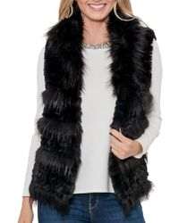 Love Token - Alessa Faux Fur Vest In Black - Lyst