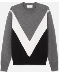 AMI - Tricolor Crew Neck Jumper With Contrasted Bands - Lyst