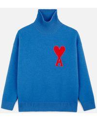 AMI - Funnel Neck Logo Sweater - Lyst