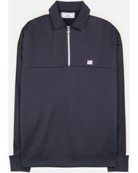 AMI - Bicolor Sweatshirt With Polo Collar - Lyst