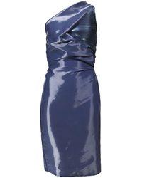 Hussein Chalayan | One Shoulder Dress In Metallic Blue | Lyst