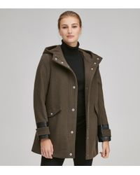 Andrew Marc - Ally Mixed Media Wool Coat - Lyst