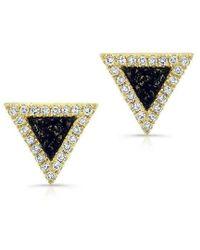 Anne Sisteron - 14kt Yellow Gold Lapis Lazuli Diamond Triangle Stud Earrings - Lyst