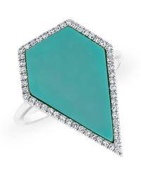 Anne Sisteron - 14kt White Gold Diamond Turquoise Sophia Ring - Lyst