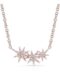 Anne Sisteron - 14kt Rose Gold Diamond Triple Starburst Necklace - Lyst
