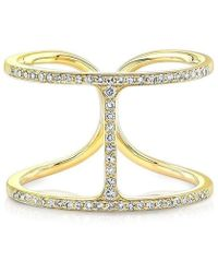 Anne Sisteron - 14kt Yellow Gold Diamond H Ring - Lyst