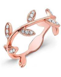 Anne Sisteron - 14kt Rose Gold Diamond Leaf Knuckle Ring - Lyst