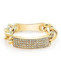 Anne Sisteron - 14kt Yellow Gold Diamond Id Tag Ring - Lyst