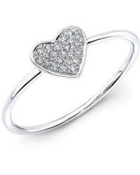 Anne Sisteron - 14kt White Gold Diamond Heart Ring - Lyst