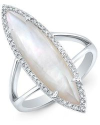 Anne Sisteron - 14kt White Gold Diamond Mother Of Pearl Small Celeste Ring - Lyst