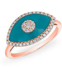 Anne Sisteron - 14kt Rose Gold Diamond Turquoise Evil Eye Summer Ring - Lyst