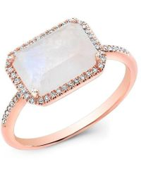 Anne Sisteron - 14kt Rose Gold Moonstone Diamond Chic Ring - Lyst