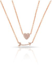 Anne Sisteron - 14kt Rose Gold Diamond Cupid's Bow Necklace - Lyst