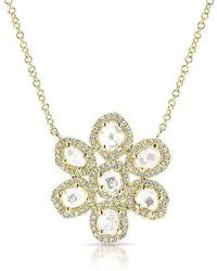 Anne Sisteron - 14kt Yellow Gold Diamond Slice Mae Small Flower Necklace - Lyst