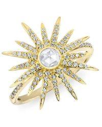 Anne Sisteron - 14kt Yellow Gold Diamond Sunburst Ring - Lyst