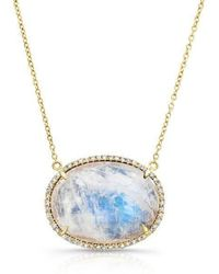 Anne Sisteron - 14kt Yellow Gold Diamond Oval Moonstone Necklace - Lyst
