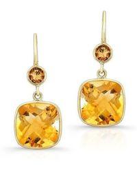 Anne Sisteron - 14kt Yellow Gold Citrine Cushion Cut Earrings - Lyst