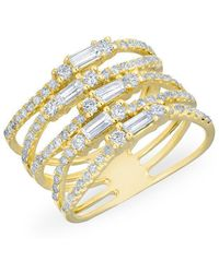 Anne Sisteron - 14kt Yellow Gold Diamond Baguette Stacked Ring - Lyst