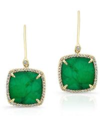 Anne Sisteron - 14kt Yellow Gold Emerald Diamond Small Cushion Cut Earrings - Lyst