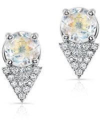 Anne Sisteron - 14kt White Gold Moonstone Diamond Maddie Stud Earrings - Lyst