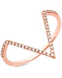 Anne Sisteron - 14kt Rose Gold Diamond Double Bar Ring - Lyst