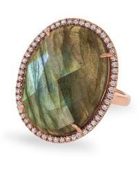 Anne Sisteron - 14kt Rose Gold Labradorite Diamond Oval Cocktail Ring - Lyst