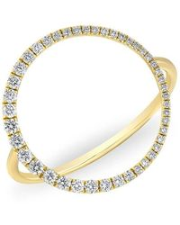 Anne Sisteron | 14kt Yellow Gold Diamond Luxe Open Circle Ring | Lyst
