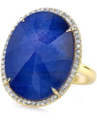Anne Sisteron - 14kt Yellow Gold Sapphire Diamond Oval Doublet Cocktail Ring - Lyst