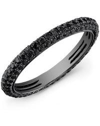 Anne Sisteron - 14kt Oxidized White Gold Black Diamond Ring - Lyst