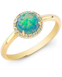 Anne Sisteron | 14kt Yellow Gold Green Opal Diamond Solitaire Ring | Lyst