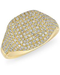 Anne Sisteron - 14kt Yellow Gold Diamond Cushion Pinkie Ring - Lyst