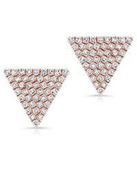 Anne Sisteron - 14kt Rose Gold Large Diamond Triangle Olivia Stud Earrings - Lyst