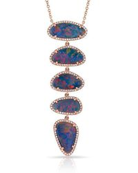 Anne Sisteron | 14kt Rose Gold Diamond Opal 5 Stones Ashley Necklace | Lyst