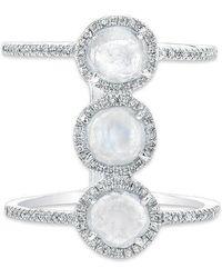 Anne Sisteron - 14kt White Gold Triple Diamond Slice H Ring - Lyst