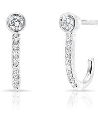 Anne Sisteron - 14kt White Gold Diamond Hook Stud Earrings - Lyst