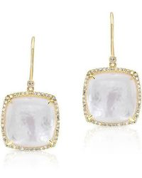 Anne Sisteron - 14kt Yellow Gold Diamond Mother Of Pearl Cushion Cut Earrings - Lyst