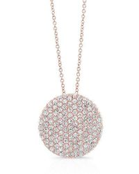 Anne Sisteron - 14kt Rose Gold Diamond Luxe Disc Necklace - Lyst
