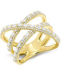 Anne Sisteron - 14kt Yellow Gold Diamond Baguette X Ring - Lyst